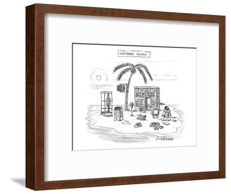 A desert island full of outdated and obsolete items, including a bookstore? - New Yorker Cartoon-Mort Gerberg-Framed Art Print