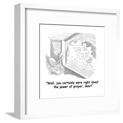"""Well, you certainly were right about the power of prayer, dear!"" - Cartoon-Gahan Wilson-Framed Art Print"