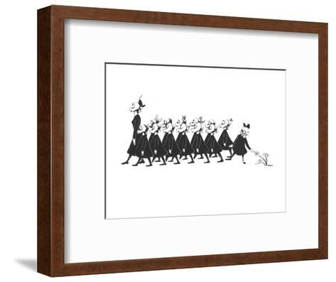 Line of school girls in black wearing gas masks. One stops to touch a flow - New Yorker Cartoon-Christina Malman-Framed Art Print