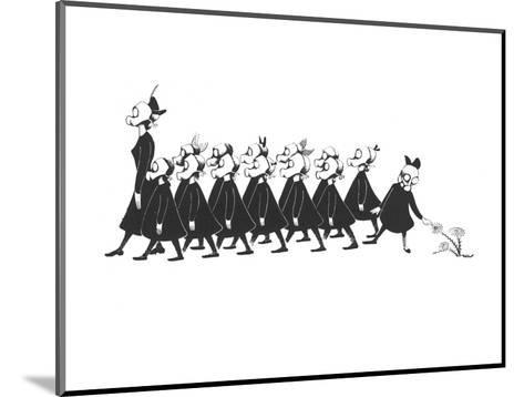Line of school girls in black wearing gas masks. One stops to touch a flow - New Yorker Cartoon-Christina Malman-Mounted Premium Giclee Print