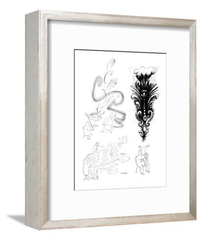 Images of musicians and visual representations of their instrument's sound. - New Yorker Cartoon-Saul Steinberg-Framed Art Print