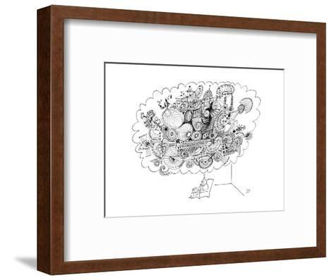 A man sitting in a chair is thinking of a very large elaborate sketch. - New Yorker Cartoon-Saul Steinberg-Framed Art Print