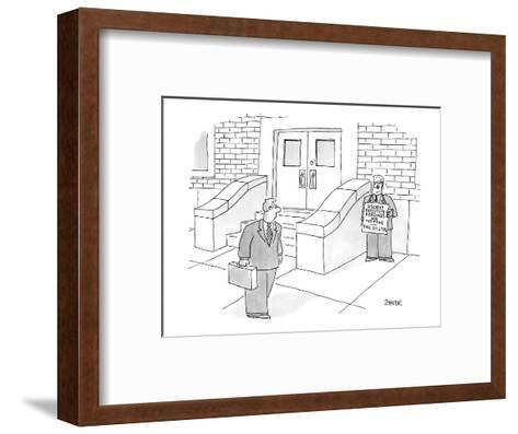 Man on street with a sign that reads, 'Discreet Executive Piercing and Tat? - New Yorker Cartoon-Jack Ziegler-Framed Art Print