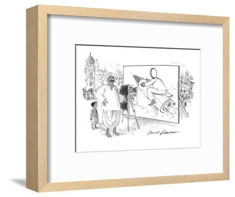 Pakistani or Indian man with camera and billboard of person with a hole cu? - New Yorker Cartoon-Bernard Schoenbaum-Framed Art Print