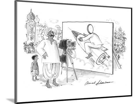 Pakistani or Indian man with camera and billboard of person with a hole cu? - New Yorker Cartoon-Bernard Schoenbaum-Mounted Premium Giclee Print