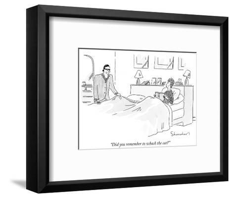 """""""Did you remember to whack the cat?"""" - New Yorker Cartoon-Danny Shanahan-Framed Art Print"""