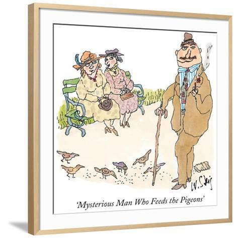 Mysterious Man Who Feeds the Pigeons' - New Yorker Cartoon-William Steig-Framed Art Print