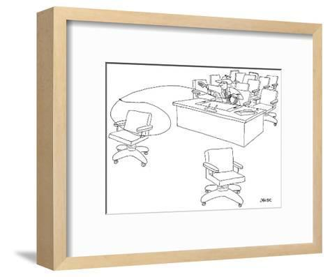 Businessman wearing a cowboy hat, sitting at desk, uses lasso to rope offi… - New Yorker Cartoon-Jack Ziegler-Framed Art Print