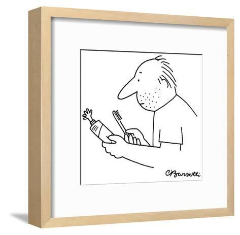 A tiny hand projects out from a squeezed toothpaste tube. - New Yorker Cartoon-Charles Barsotti-Framed Art Print
