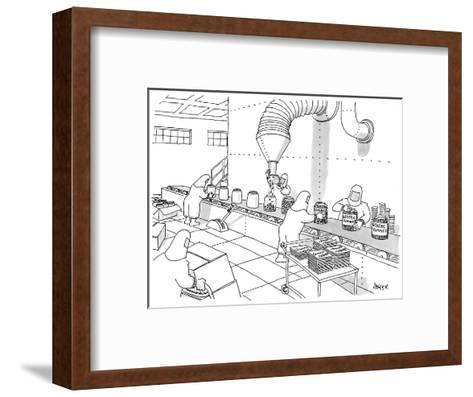 Factory workers dressed in hazmat suits fill containers labeled 'Generic Y? - New Yorker Cartoon-Jack Ziegler-Framed Art Print