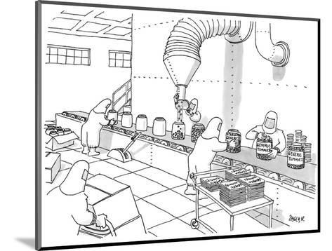 Factory workers dressed in hazmat suits fill containers labeled 'Generic Y? - New Yorker Cartoon-Jack Ziegler-Mounted Premium Giclee Print