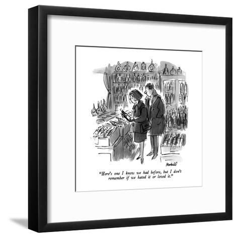 """Here's one I know we had before, but I don't remember if we hated it or l?"" - New Yorker Cartoon-Frank Modell-Framed Art Print"