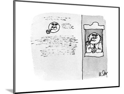 Man in window smoking pipe, in the background the moon looks just the same? - New Yorker Cartoon-William Steig-Mounted Premium Giclee Print