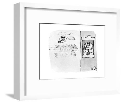 Man in window smoking pipe, in the background the moon looks just the same? - New Yorker Cartoon-William Steig-Framed Art Print