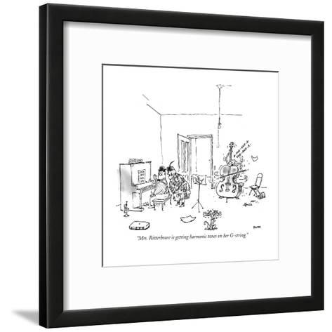 """Mrs. Ritterhouse is getting harmonic tones on her G-string."" - New Yorker Cartoon-George Booth-Framed Art Print"