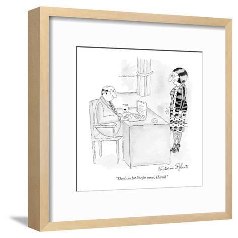 """""""There's no hot line for ennui, Harold."""" - New Yorker Cartoon-Victoria Roberts-Framed Art Print"""