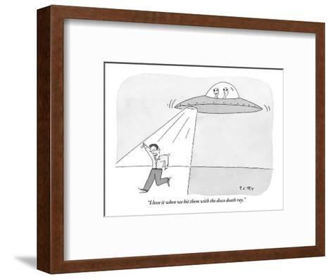 """I love it when we hit them with the disco death ray."" - New Yorker Cartoon-Peter C. Vey-Framed Art Print"