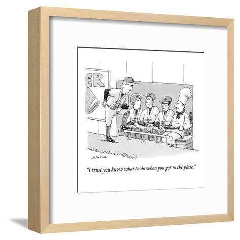 """""""I trust you know what to do when you get to the plate."""" - New Yorker Cartoon-Joe Dator-Framed Art Print"""