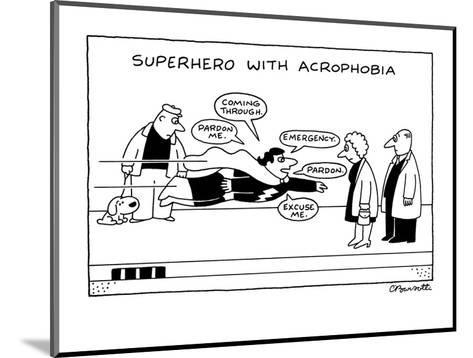 Superhero With Acrophobia - New Yorker Cartoon-Charles Barsotti-Mounted Premium Giclee Print