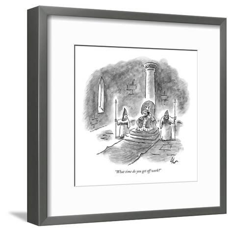 """What time do you get off work?"" - New Yorker Cartoon-Frank Cotham-Framed Art Print"