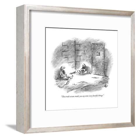 """""""The truth serum made you say some very hurtful things."""" - New Yorker Cartoon-Frank Cotham-Framed Art Print"""