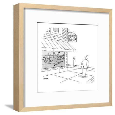 A man walks by store with people swimming in the window, store sign reads,? - New Yorker Cartoon-Jack Ziegler-Framed Art Print