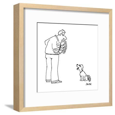 Man angrily shakes finger at dog, while dog happily wags tail at man. - New Yorker Cartoon-Jack Ziegler-Framed Art Print
