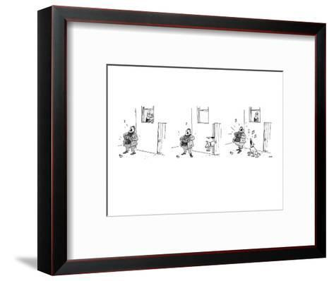 3 drawings. A man plays a accordion beneath a window.  The man in window l? - New Yorker Cartoon-George Booth-Framed Art Print