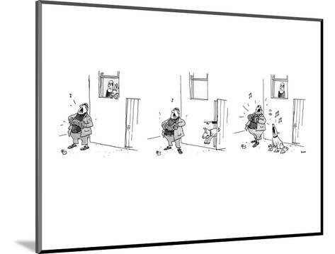 3 drawings. A man plays a accordion beneath a window.  The man in window l? - New Yorker Cartoon-George Booth-Mounted Premium Giclee Print