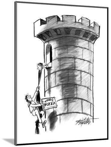 Delivery boy climbs Rapunzel's hair, carrying a pizza. - New Yorker Cartoon-Mischa Richter-Mounted Premium Giclee Print