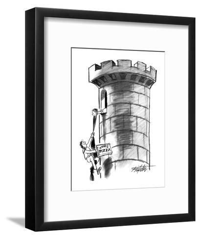 Delivery boy climbs Rapunzel's hair, carrying a pizza. - New Yorker Cartoon-Mischa Richter-Framed Art Print