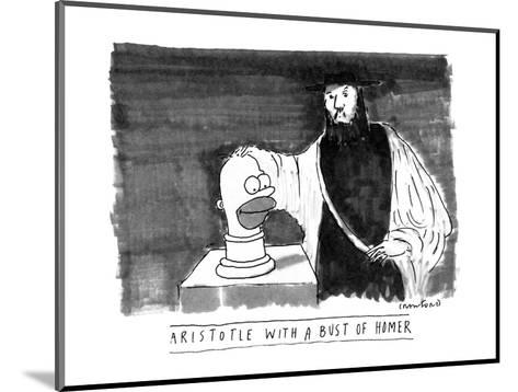ARISTOTLE WITH A BUST OF HOMER: - New Yorker Cartoon-Michael Crawford-Mounted Premium Giclee Print