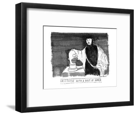 ARISTOTLE WITH A BUST OF HOMER: - New Yorker Cartoon-Michael Crawford-Framed Art Print