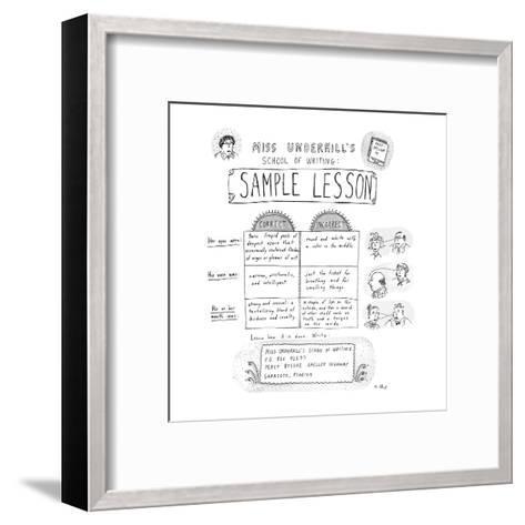 Miss Underhill's School Of Writing Sample Lesson - New Yorker Cartoon-Roz Chast-Framed Art Print