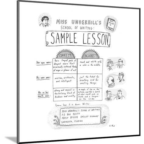 Miss Underhill's School Of Writing Sample Lesson - New Yorker Cartoon-Roz Chast-Mounted Premium Giclee Print