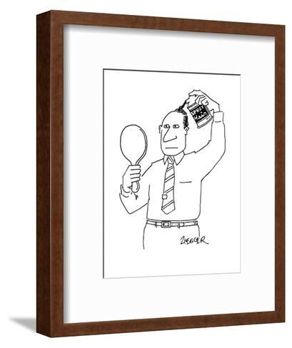 """Man with can of """"Spray Hair"""" covering up his bald spot. - New Yorker Cartoon-Jack Ziegler-Framed Art Print"""