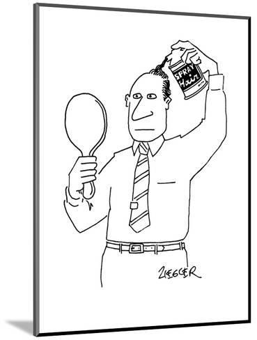 """Man with can of """"Spray Hair"""" covering up his bald spot. - New Yorker Cartoon-Jack Ziegler-Mounted Premium Giclee Print"""