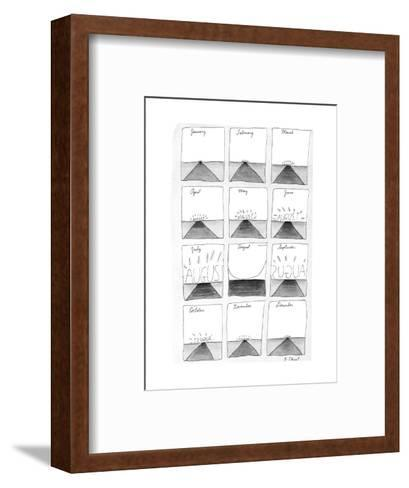Twelve months as the month of August slowly approaches, and then passes. - New Yorker Cartoon-Roz Chast-Framed Art Print
