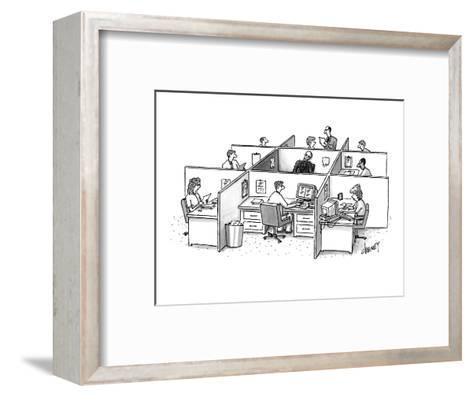 Skeleton is trapped in the center, doorless square amid nine office cubicl? - New Yorker Cartoon-Tom Cheney-Framed Art Print