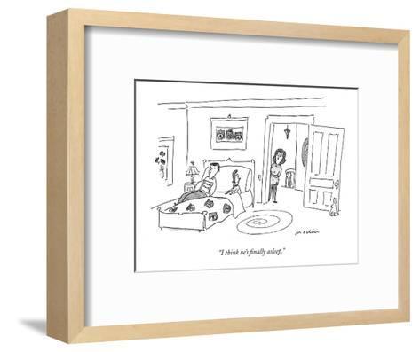 """""""I think he's finally asleep."""" - New Yorker Cartoon-Michael Maslin-Framed Art Print"""