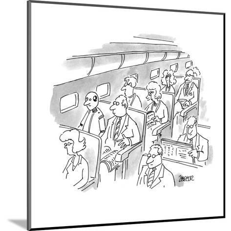 No caption. A passenger on a plane looks at crash test dummy sitting in th? - New Yorker Cartoon-Jack Ziegler-Mounted Premium Giclee Print