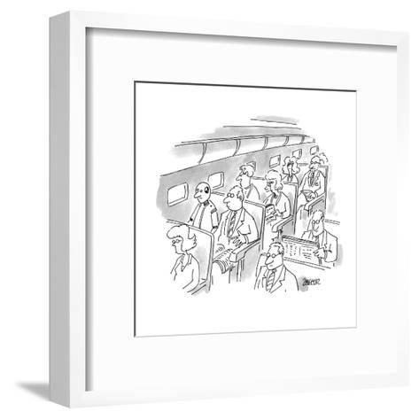 No caption. A passenger on a plane looks at crash test dummy sitting in th? - New Yorker Cartoon-Jack Ziegler-Framed Art Print