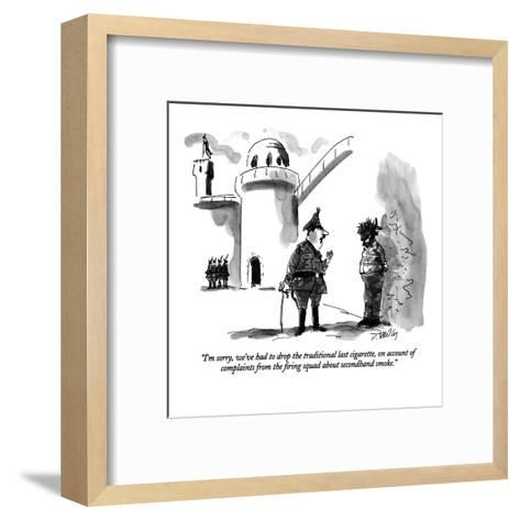 """""""I'm sorry, we've had to drop the traditional last cigarette, on account o?"""" - New Yorker Cartoon-Donald Reilly-Framed Art Print"""