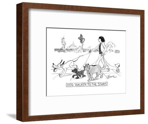 DOG WALKER TO THE STARS - New Yorker Cartoon-Edward Frascino-Framed Art Print
