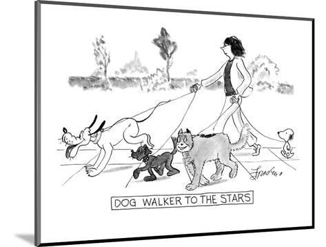 DOG WALKER TO THE STARS - New Yorker Cartoon-Edward Frascino-Mounted Premium Giclee Print