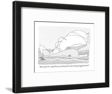 """Now that I've wiped him out, I kind of miss the little peg-legged bastard?"" - New Yorker Cartoon-Gahan Wilson-Framed Art Print"