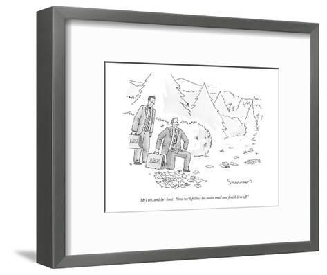"""""""He's hit, and he's hurt.  Now we'll follow his audit trail and finish him?"""" - New Yorker Cartoon-Danny Shanahan-Framed Art Print"""