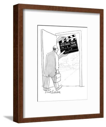 Man walking out his front door encounters a large movie clapboard that say? - New Yorker Cartoon-Mort Gerberg-Framed Art Print