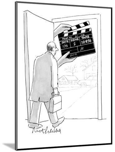 Man walking out his front door encounters a large movie clapboard that say? - New Yorker Cartoon-Mort Gerberg-Mounted Premium Giclee Print