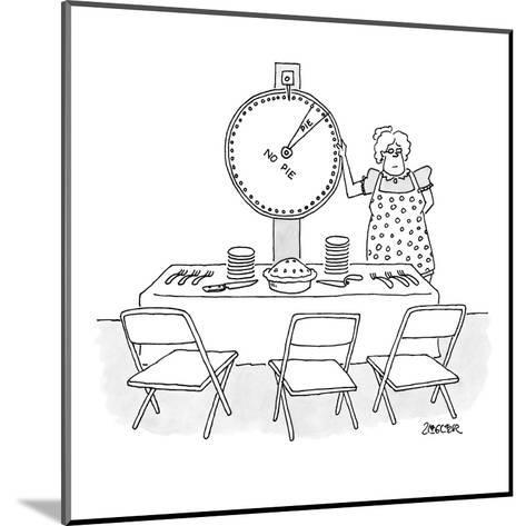"Woman is spinning a wheel which offers mainly ""no pie"". - New Yorker Cartoon-Jack Ziegler-Mounted Premium Giclee Print"